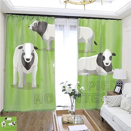 GaoCheng curtain Cortina de Moda con diseño de Vaca, 72 x 72 cm de Ancho para Puerta corredera para habitación de Invitados, Cortinas de Alta precisión para dormitorios, Salones, cocinas, etc.: Amazon.es:
