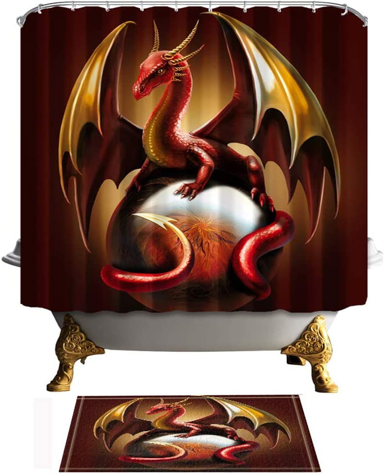 Shocur Dragon Ball Shower Curtain Set, Golden Wings Red Dragon, Bathroom Decor Polyester Fabric 69 x 70 Inches Medieval Fantasy Theme Bath Curtain with 12 Hooks and Non-Slip 40 x 60cm Bath Rug