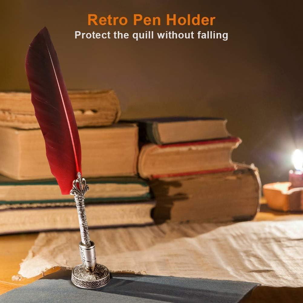 Amarillo Pluma de escritura vintage Pluma de caligraf/ía Tinta Pluma de inmersi/ón Decoraci/ón del hogar con caja de regalo Pluma de pluma