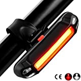 Tegollus Rear Bike Light - USB Rechargeable Red White LED Bicycle Tail Light,Headlights, Super Bright 6 Modes Waterproof Bicycle Taillights,Cycling Safety Flashlight, Easy Install on Bicycles, Helmet