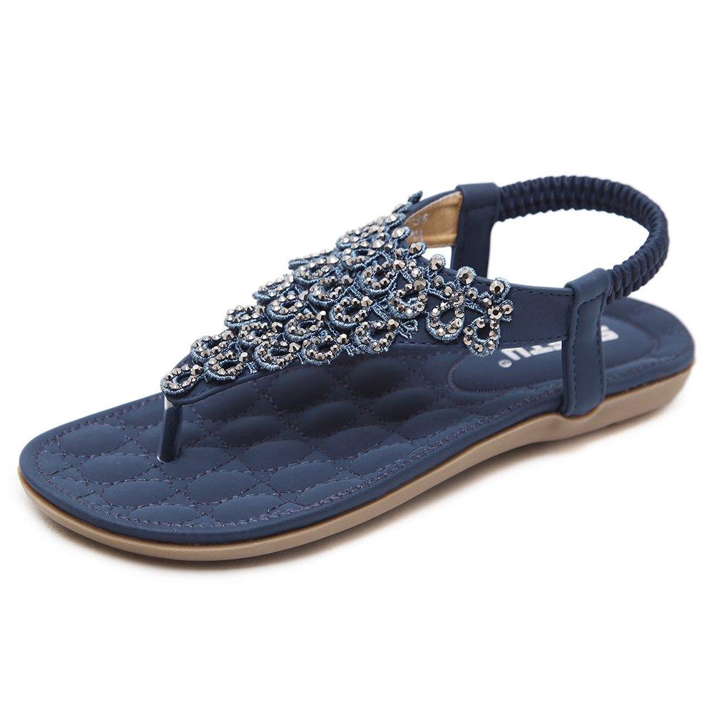 SANMIO Damen Sandalen, Frauen Sandals Bohemian Strass Flach Sandaletten Sommer PU Leder Zehentrenner  40 EU|Blau