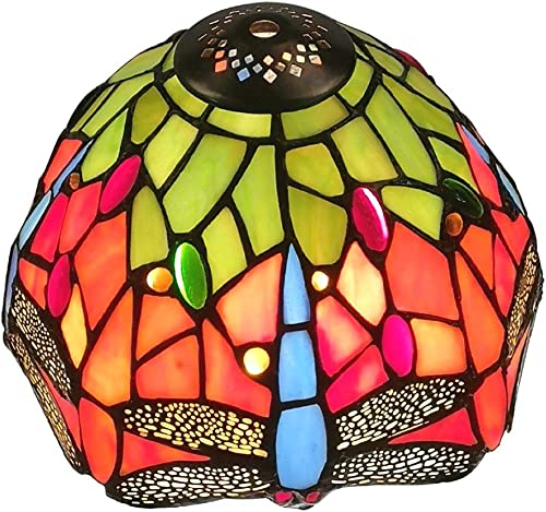 Premium Stained Glass Tiffany Style Dragonfly Replacement Table Lamp Shade, 8-Inch Width by WeiJuMei