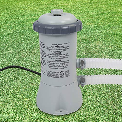 Intex Krystal Clear Cartridge Filter Pump for Above Ground Pools, 530 GPH Pump Flow Rate, 110-120V with GFCI