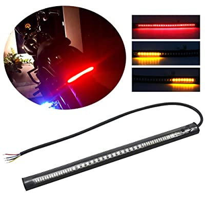 Boodlied 1PCS Flexible Motorcycle Turn Signals LED Lights Universal Amber-Red Tail Brake Running License Plate LED Strip Light For Motorcycles Cars ATVs Scooters.: Automotive