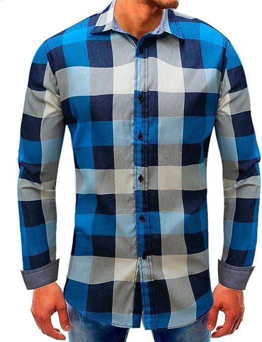 Qiusa Camisa de Mezclilla Azul Hombre Polo Tall Manguito Manga ...