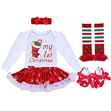 8144e6efb0ef Newborn Baby Girls My First Christmas Outfit Tutu Dress Costumes Long  Sleeve Romper Bodysuit + Bow
