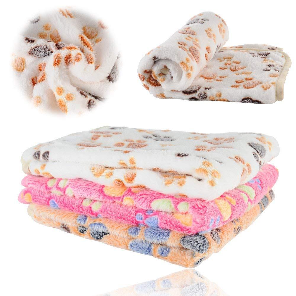 Beige Medium Beige Medium Pet Super Soft (Dog Cat) Mattress with Cute Print Warm Blanket Thick Coral Fleece Mattress Washable Pet Bed Mattress,Beige,M