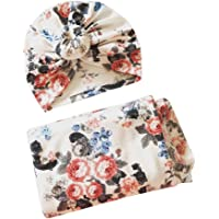 NUOBESTY Newborn Receiving Blanket Headband Set Baby Swaddle Blankets Gala bloomer(White)