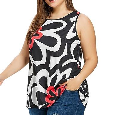Damen Sommer Tanktops Weste Hffan Mode Frauen Oversize Farbe Block Drucken  Top Ärmellos Hemden Bluse Blusenshirt 0571d6e4f5