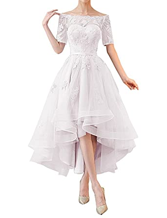 1a60a7512e NOVIA Women's Boateau Neck High Low Evening Prom Dresses Half Sleeves  Vintage Bridesmaid Gown White Size