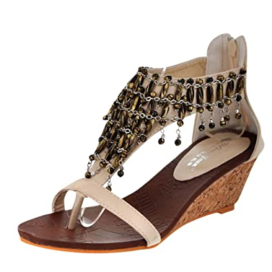 95e63f42b4 Amazon.com | Carol Shoes Womens Beaded Bohemian Wedges Sandals | Platforms  & Wedges
