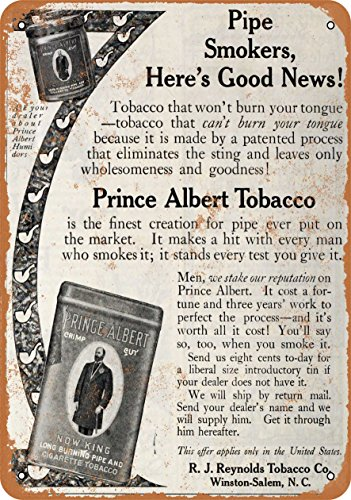 (Wall-Color 9 x 12 Metal Sign - 1910 Prince Albert Pipe and Cigarette Tobacco - Vintage Look)