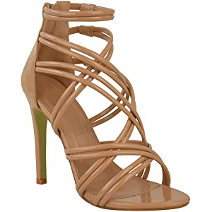 Fashion Thirsty New Womens Strappy Sandals High Heel Occasion Party Prom Shoes Size 5