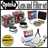 Opteka HD2 Professional Lens & Filter Set For The JVC GZ-MC100 MC200 DZ7 D73 GR-D53 GR-DX300 DVM70 D200 GR-DVL105 GZ-MS100 JVC GL-AW30 & GL-AT30 30.5MM Package Includes 2X Telephoto Lens, 0.5X Wide Angle Lens With Macro, 3 Piece Filter Kit UV, PL, FLD and Extras