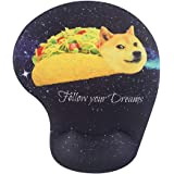 Memory Foam Mousepad with Wrist Support, Doge in Taco Galaxy Space Fllow Your Dream Amusing Mouse Pad Wrist Rest, Super Non-Slip PU Base