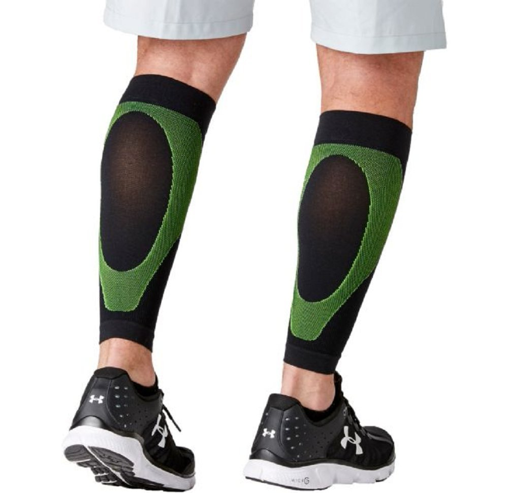 P-TEX Knit Compression Calf Sleeves, 2 calf sleeves Black/Green Color (Size: M)