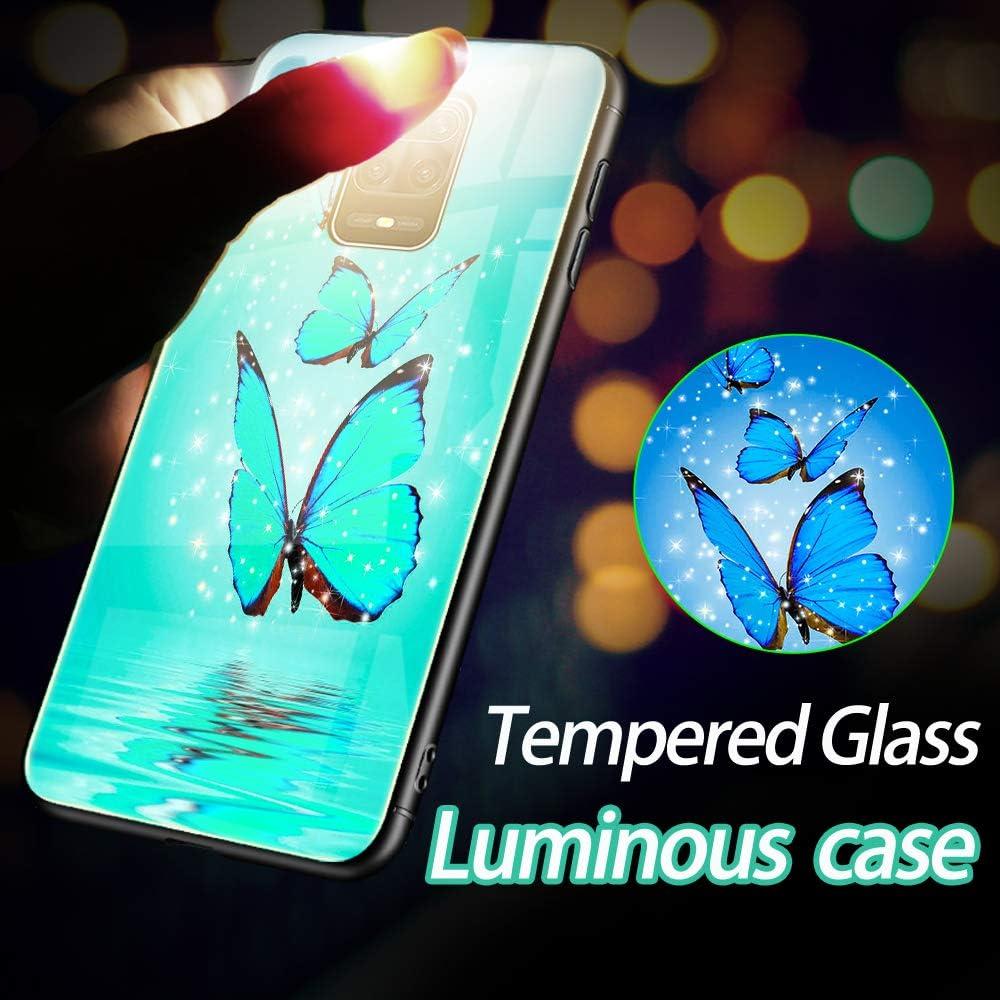 Cover Xiaomi Redmi Note 9S//Note 9 PRO,Custodia per Xiaomi Redmi Note 9S,Silicone Nottilucenti Luminoso Cristallo Case Vetro Temperato 3D Fluorescente Duro Protettiva Antiurto Backcover Farfalla Blu