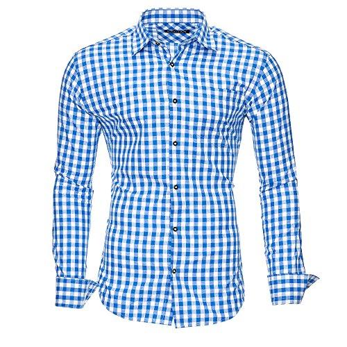 Lungo M Xl Blue Slim 2xlmodello Maniche L Quadri Stiro No02 Uomo Xxl Originale Fit Cotone Kayhan Camicia S Facile thrsQd