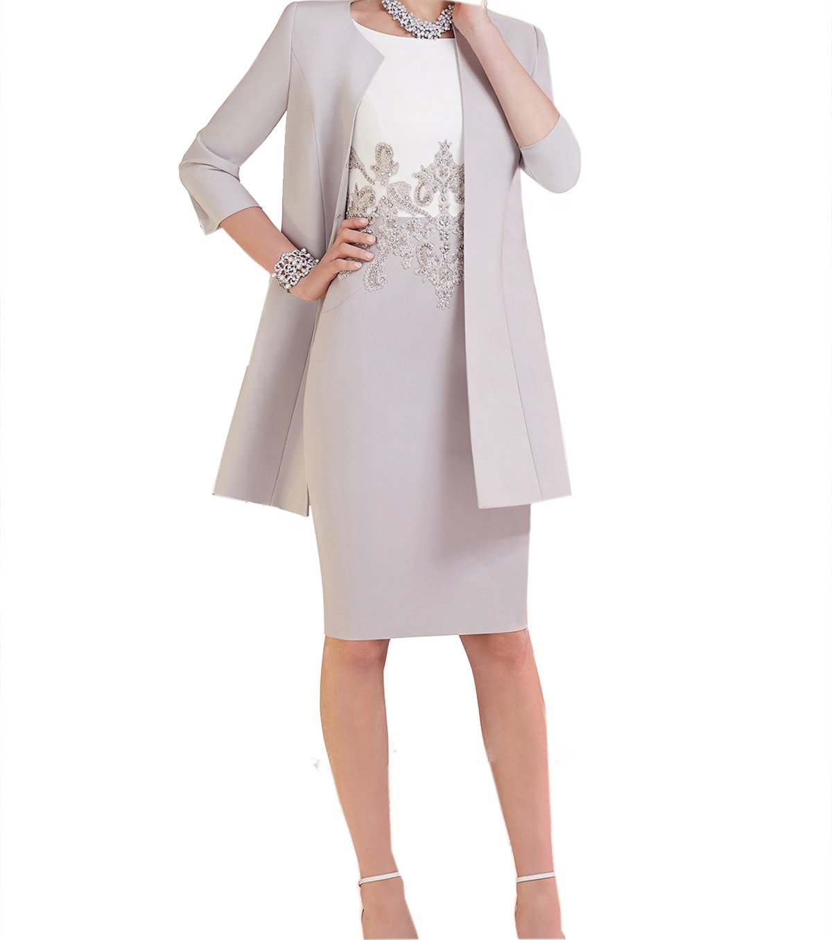 Landress Women's Knee Length Mother of The bride dresses with Jacket(16,Silver) by Landress