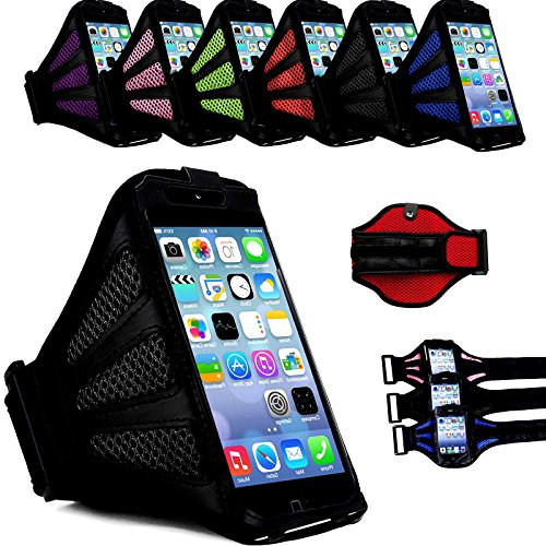 """myLife Corsa Red and Basic Black with Flex Mesh {Rain Resistant Velcro Secure Running Armband} Dual-Fit Jogging Arm Strap Holder for Apple iPhone 6 Plus (5.5 Inch) """"All Ports Accessible"""""""