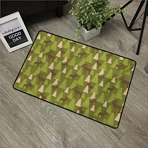 """Anzhutwelve Deer,Mats Animals in The Forrest Mooses and Pine Trees Pattern Canada Foliage Mammal Design W 16"""" x L 24"""" Front Door mats Green Tan Brown"""