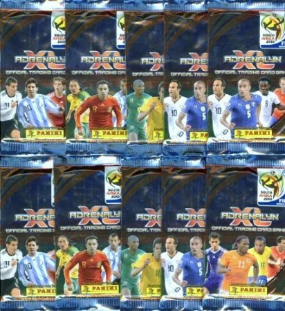 World Soccer Cup 2010 - 2010 World Cup Card Special!! TEN (10) Factory Sealed Foil Packs of 2010 Panini Adrenalyn XL World Cup Card Game! 6 Cards Per Pack a total of SIXTY (60) Brand New 2010 World Cup Soccer Cards!! International Edition from Italy!