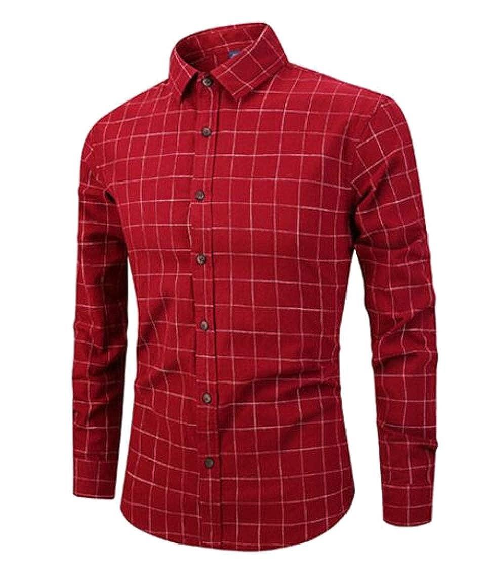 Cromoncent Men Casual Lapel Neck Plaid Flannel Curved Hem Button Down Shirts