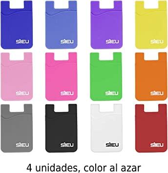4 x Bolsillos de Silicona Multiusos Portatarjetas con Adhesivo 3M ...