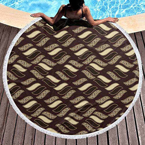 GULTMEE Round Beach Towel Beach Blanket,Indigenous Abstract Shapes Cheetah Motif Jungle Animal Skin Motif,Large Multi-Purpose Towel Beach Mat 59
