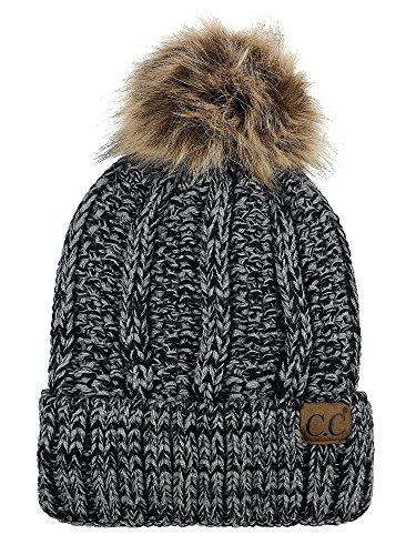- C.C Thick Cable Knit Faux Fuzzy Fur Pom Fleece Lined Skull Cap Cuff Beanie, Black/Gray Mix