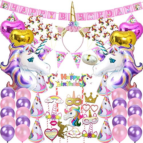 82 Pcs Unicorn Party Supplies Pack Decoration Birthday Gifts for Girls Kids Birthday Party Banner Pink Decor Purple Party Balloons, String BONUS
