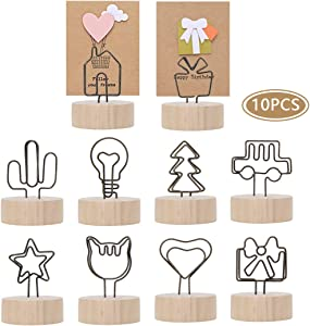 peinat Place Card Holders,10PCS Placement Photo Clips 1.57in Wooden Picture Holder with Wire Graphics Table Top Decor Round Base Food Clips for Wedding Decorations