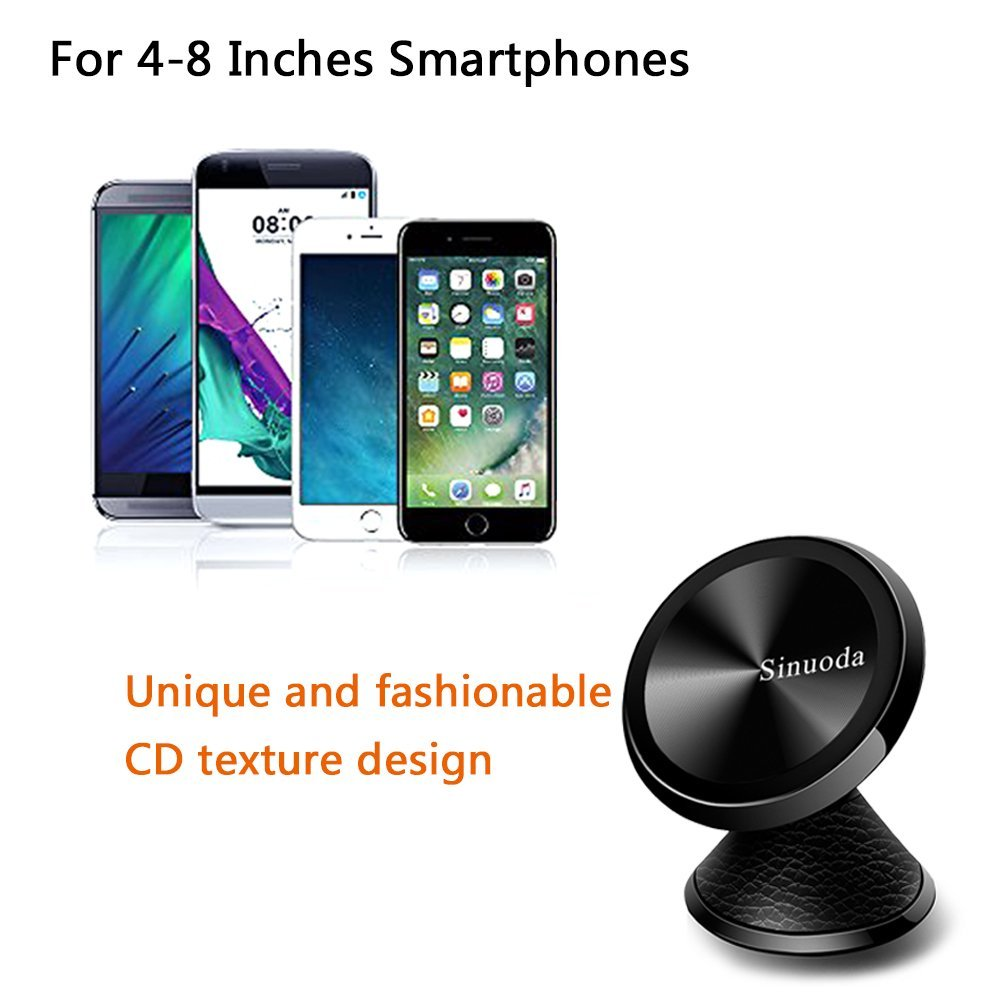 Magnetic Phone Car Mount Holder Android Smartphones Samsung Universal 360 Rotation Magnetic Car Phone Holder Stand Metal Mobile Phone Holder For Car Dashboard Mount for iPhone Leather Black Sinuoda XMS813 GPS