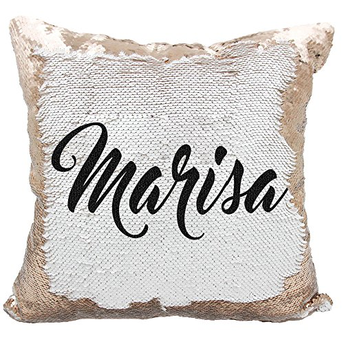 Personalized Mermaid Reversible Sequin, Customized Name Pillow (White/Rose-Gold)