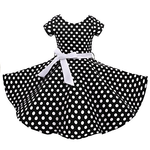 Vintage Girls Dresses Polka Dot Swing Rockabilly Dresses for Girls for Party Special Occasion -