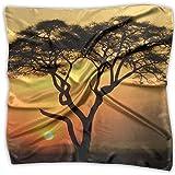 Africa Tree Sunset Women Large Satin Silk Feeling Square Scarf