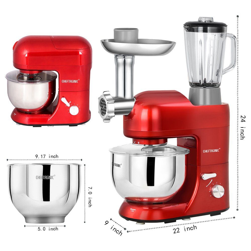 CHEFTRONIC Stand Mixer Tilt-Head 120V/650W Electric Stand Mixer with 5.5QT Stainless Bowl, 6 Speed Multifunctional Kitchen Mixer, Meat grinder, Sausage stuffer, pasta dies and Juice Blender by CHEFTRONIC (Image #3)