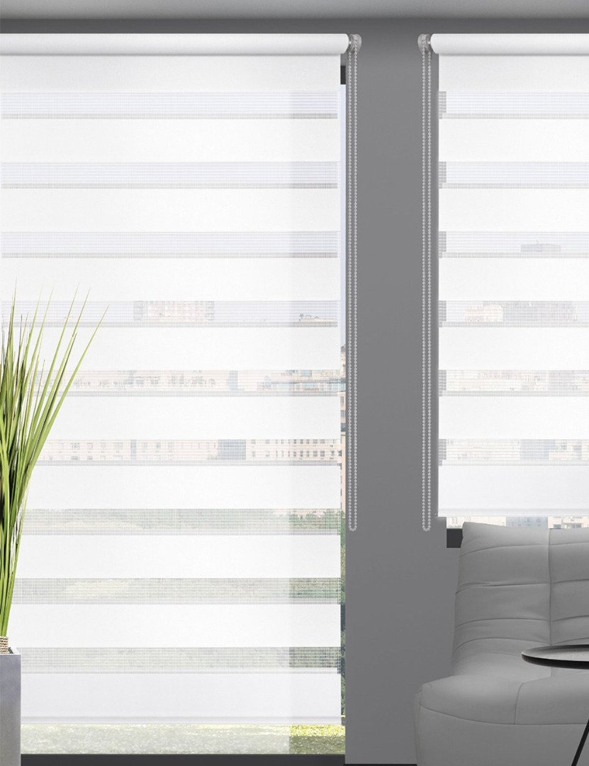 Zebra Roller Blind, Horizontal Double Polyester Privacy Fabric Design Shades For Bedroom, Living Room, Office, Cafe, Library (28x59in) - Custom Cut To Size