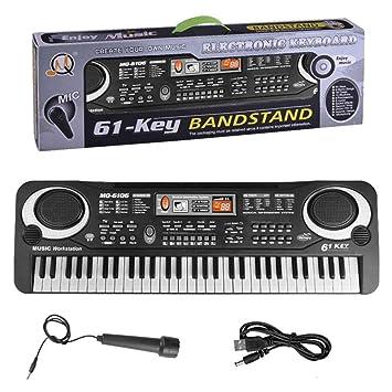 Teclado de piano para niños, piano para niños, 61 teclas, USB multifunción, portátil, organizador electrónico: Amazon.es: Hogar