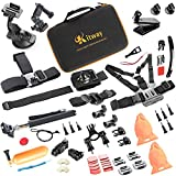 Kitway Sport Accessory Kit for GoPro Hero4 Session Hero1 2 3 3+ 4 SJ4000 5000 6000 7000 Xiaomi Yi in Swimming Rowing Skiing Climbing Bike Riding Camping Diving and Other Outdoor Sports(65-In-1)