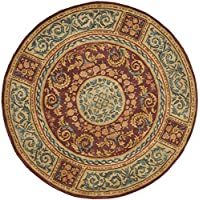 Safavieh Empire Collection EM421A Handmade Traditional European Burgundy and Gold Premium Wool Round Area Rug (4 Diameter)