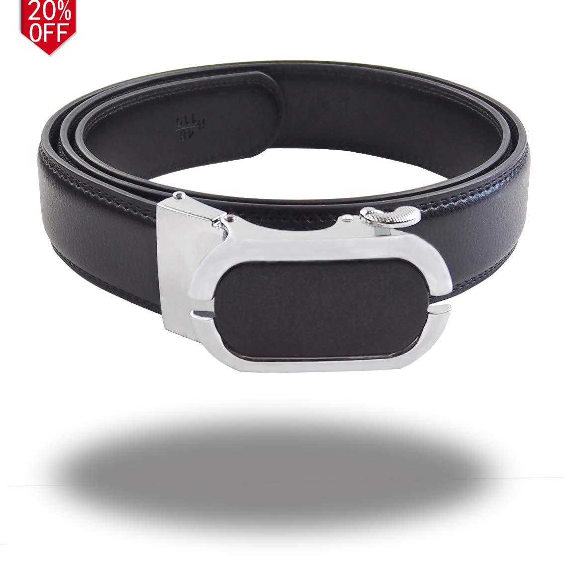 KEYNAT Men's Dress Classic Ratchet Leather Belt-Adjustable Buckle - Nickel free (01Black)