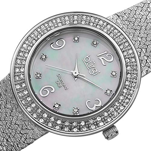 Burgi Women's BUR097SS Crystal Accented Silver Swiss Quartz Watch with White Mother of Pearl Dial and Silver Bracelet