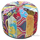 Eyes of India - 16 X 10 Round Colorful Kantha Ottoman Pouf Pouffe Cover Floor Seating Bohemian Boho Decorative