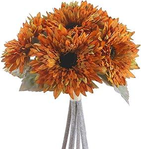 AILANDA 6 Heads Sunflowers Artificial Flowers Bouquet Yellow Silk Flowers Stems Bulk Fake Floral Plants for Wedding Bridal Bouquet Autumn Home Decor Table Centerpieces