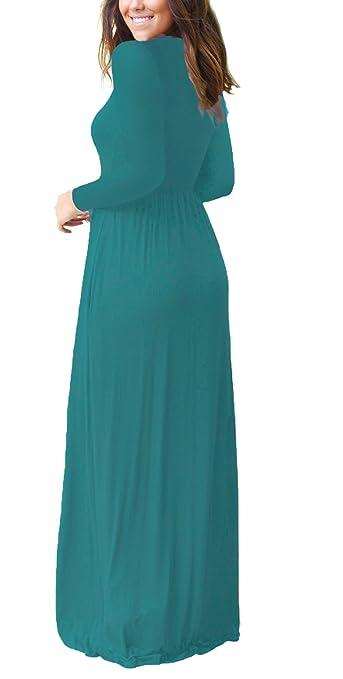 daef0e0cf DEARCASE Women Long Sleeve Loose Plain Maxi Pockets Dresses Casual Long  Dresses at Amazon Women s Clothing store