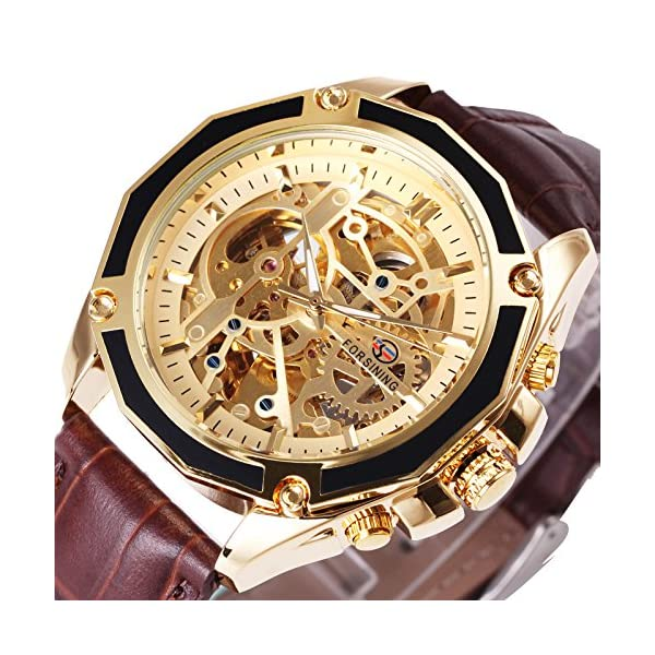 Caluxe Luxury Men Automatic Mechanical Skeleton Watch Genuine Leather Band Steampunk 3D Design 3