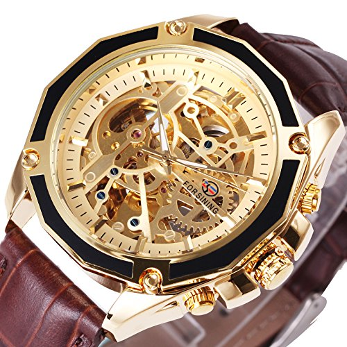 Brown Skeleton - Caluxe Luxury Vintage Men Automatic Mechanical Skeleton Watch Genuine Leather Band Steampunk Design (BROWN-GOLDEN)