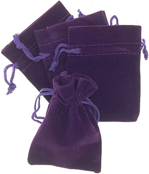 drawstring pouch in purple with  whimsical textile applique  fortune telling on halloween night dreams #45