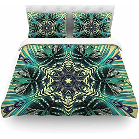 KESS InHouse AC1118ACD03 Duvet Cover Alison Coxon Paradise Yellow Black Teal King Featherweight Duvet Cover 104 X 88